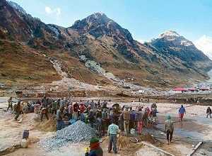 Reconstruction Work in Kedarnath Dham Courtesy of Birla Group
